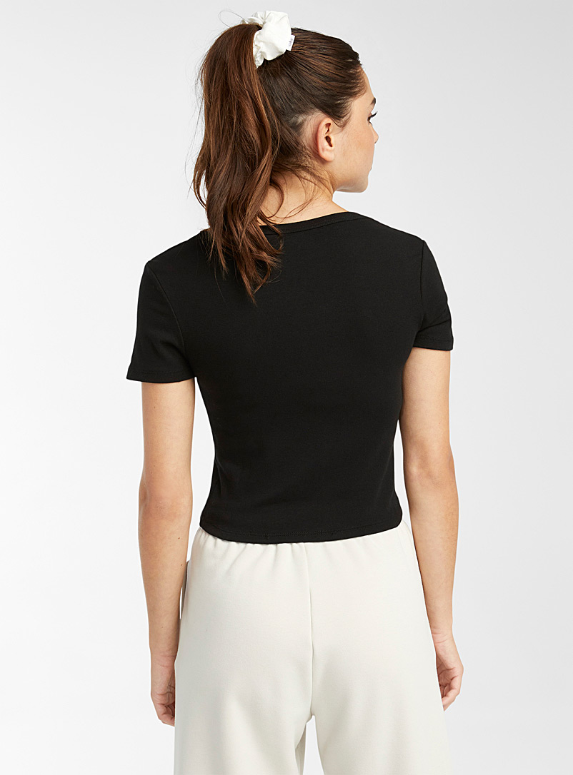 Twik White Cropped organic cotton fitted tee for women