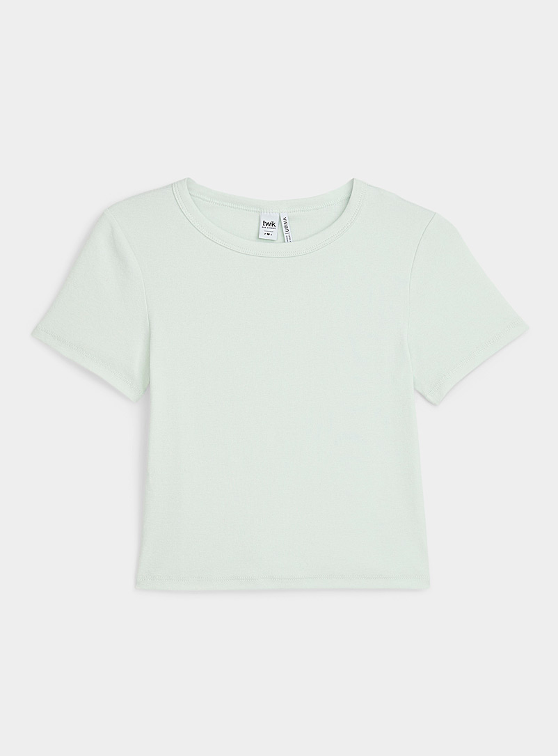 Twik Mossy Green Cropped organic cotton fitted tee for women