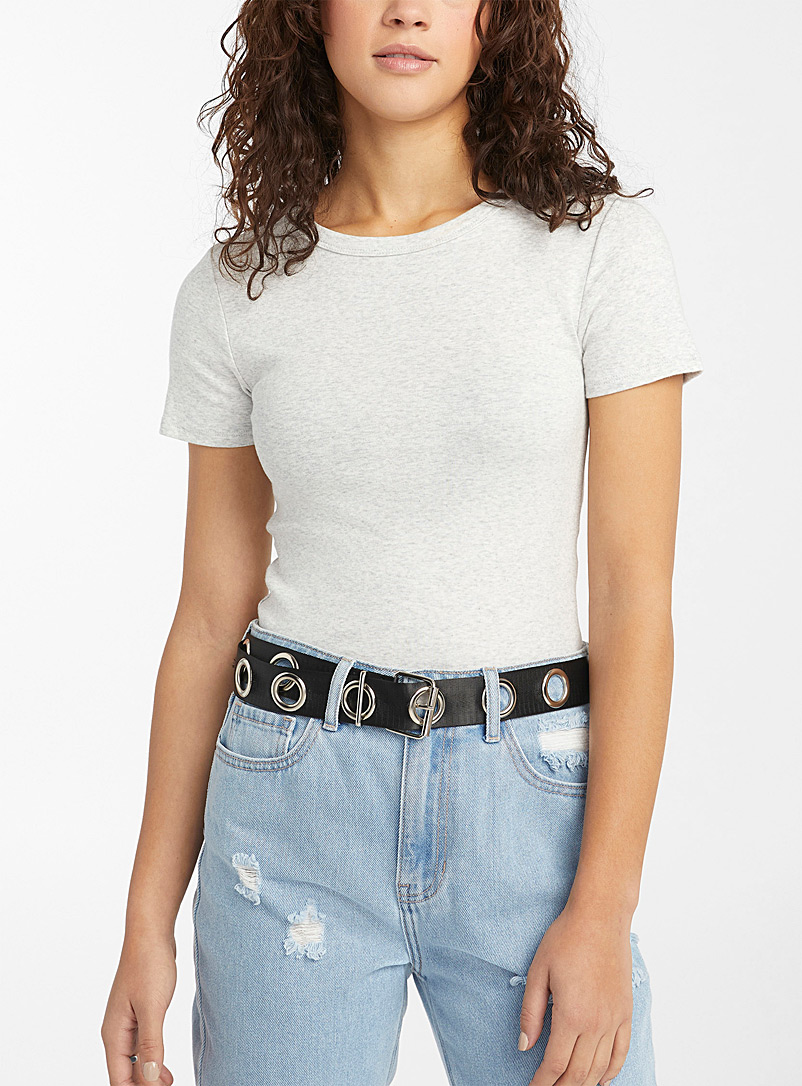 Cropped organic cotton basic crew-neck tee