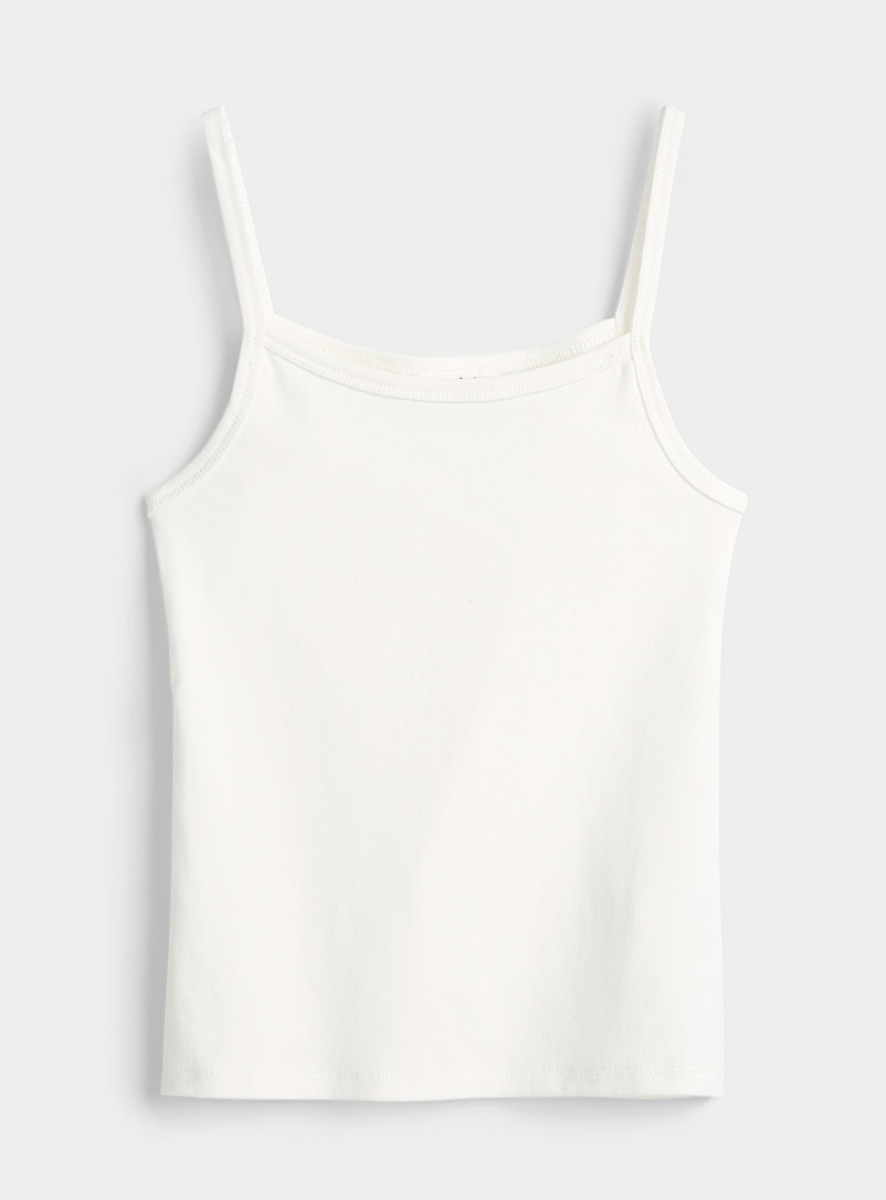 Twik White Organic cotton ultra cropped cami for women