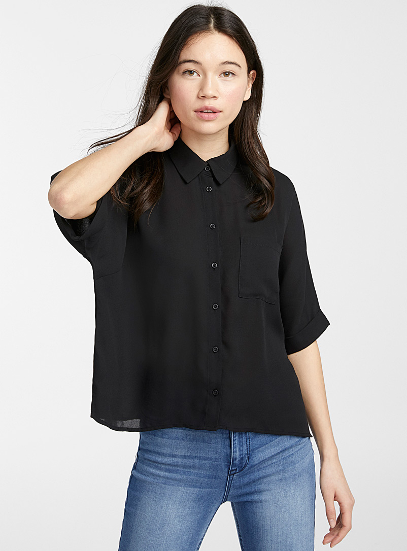 Twik Black Recycled polyester boxy blouse for women