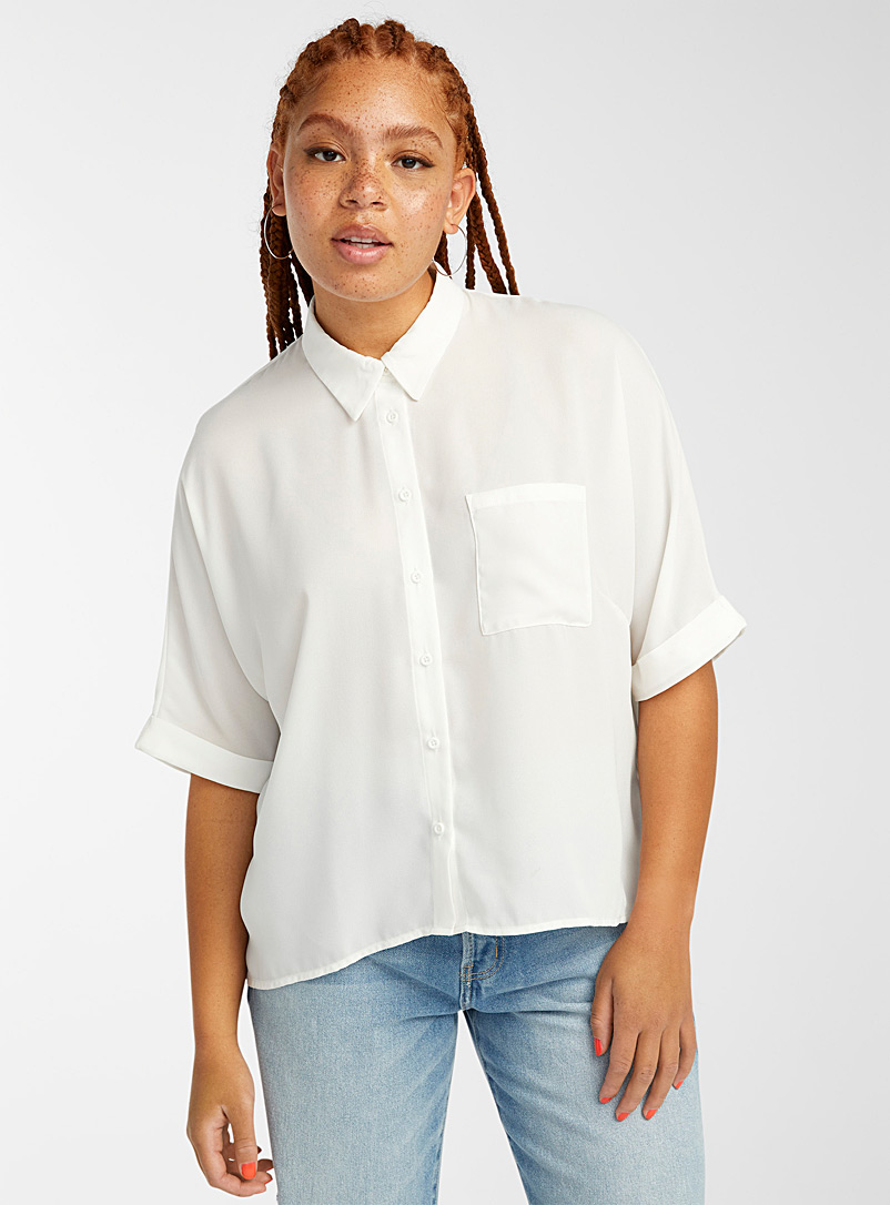 Twik White Recycled polyester boxy blouse for women