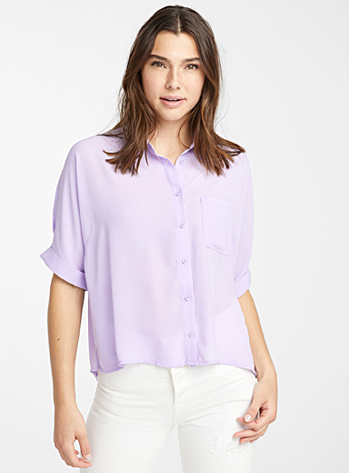 Twik Lilacs Recycled polyester boxy blouse for women