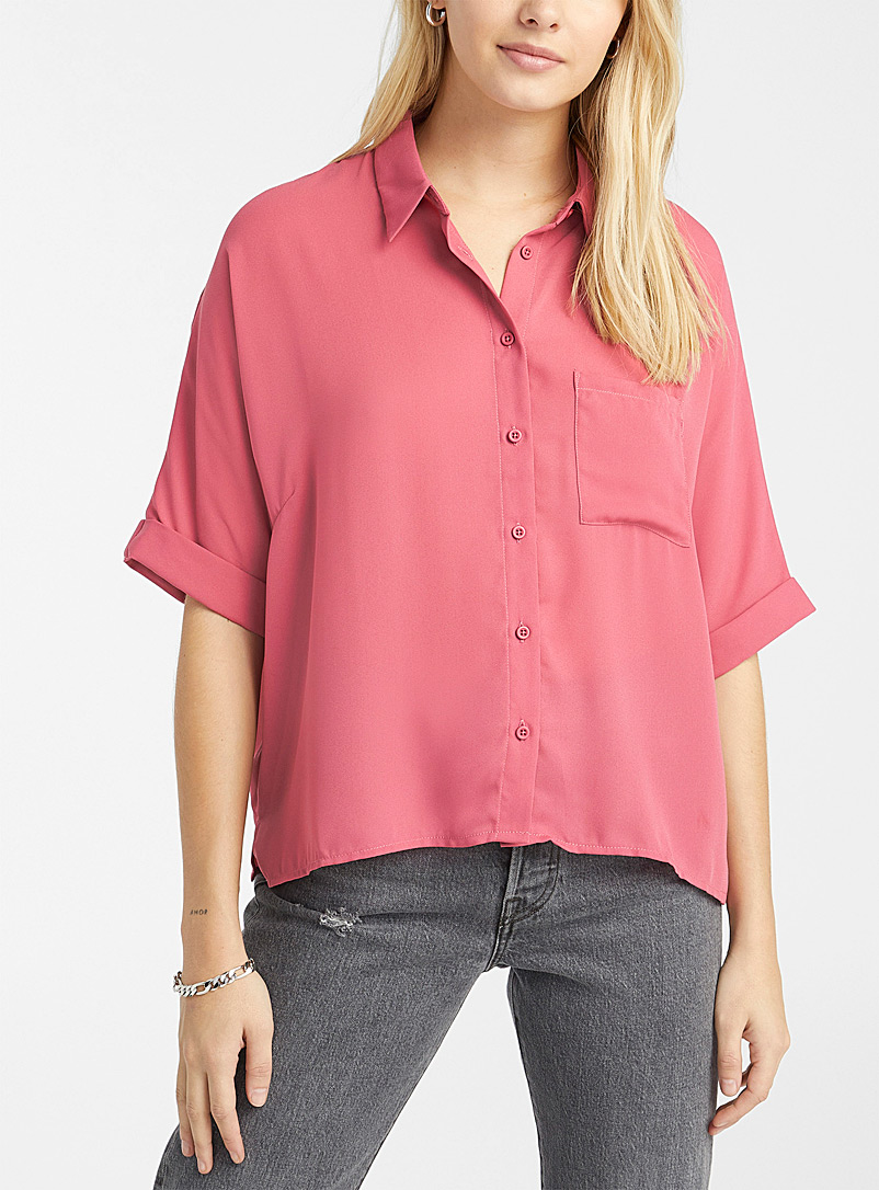 Recycled polyester boxy blouse