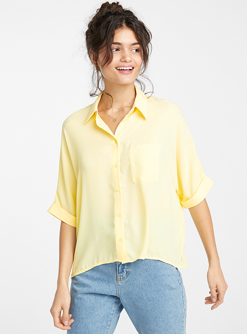 Twik Light Yellow Recycled polyester boxy blouse for women