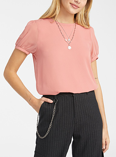 Recycled polyester puff-sleeve blouse