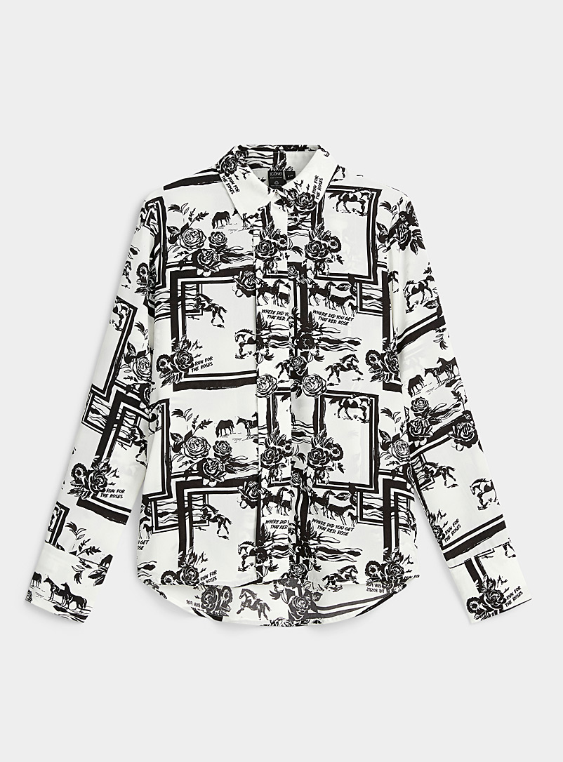 Icône Black and White Fluid printed recycled polyester shirt for women