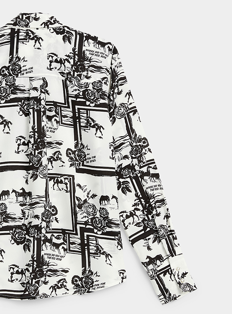 Icône Black and White Fluid and printed recycled polyester shirt for women