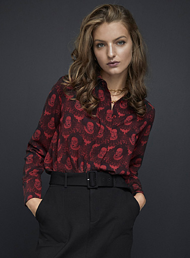 Icône Patterned Crimson Fluid and printed recycled polyester shirt for women