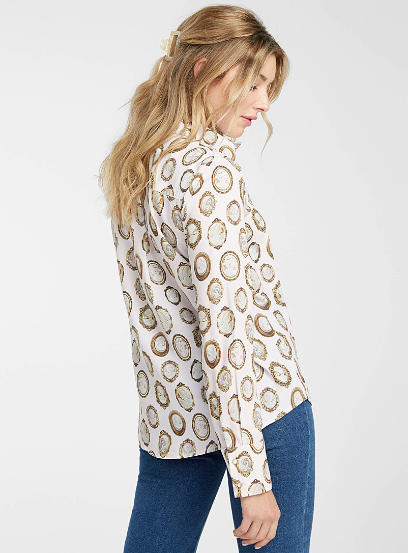 Icône Patterned Black Fluid and printed recycled polyester shirt for women
