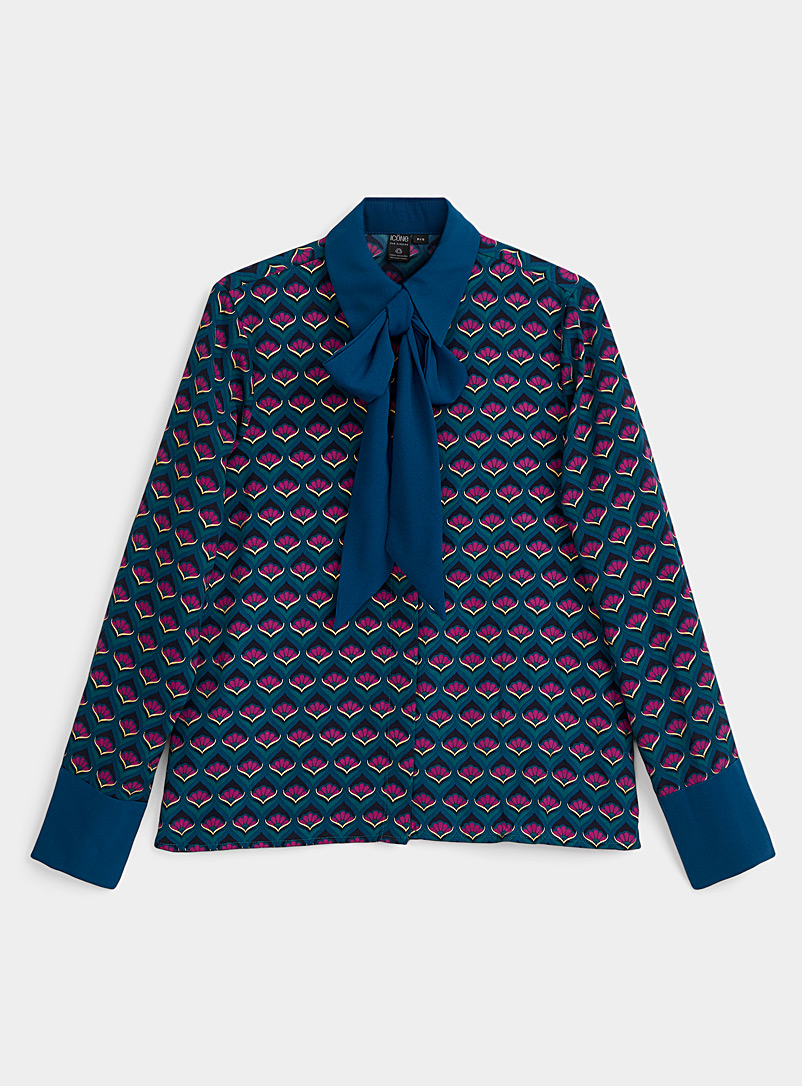 Recycled polyester scarf-neck print shirt
