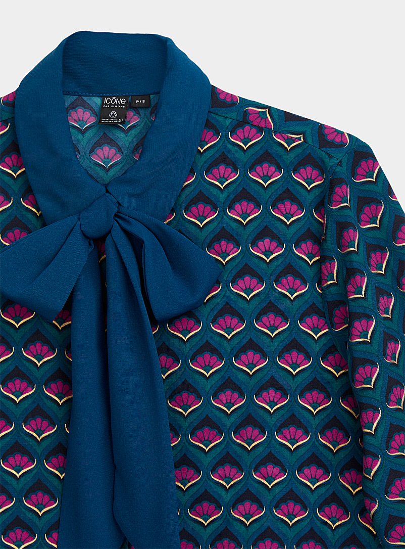 Icône Patterned Brown Recycled polyester scarf-neck print shirt for women