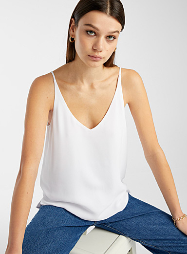 Twik White Airy V-neck cami for women