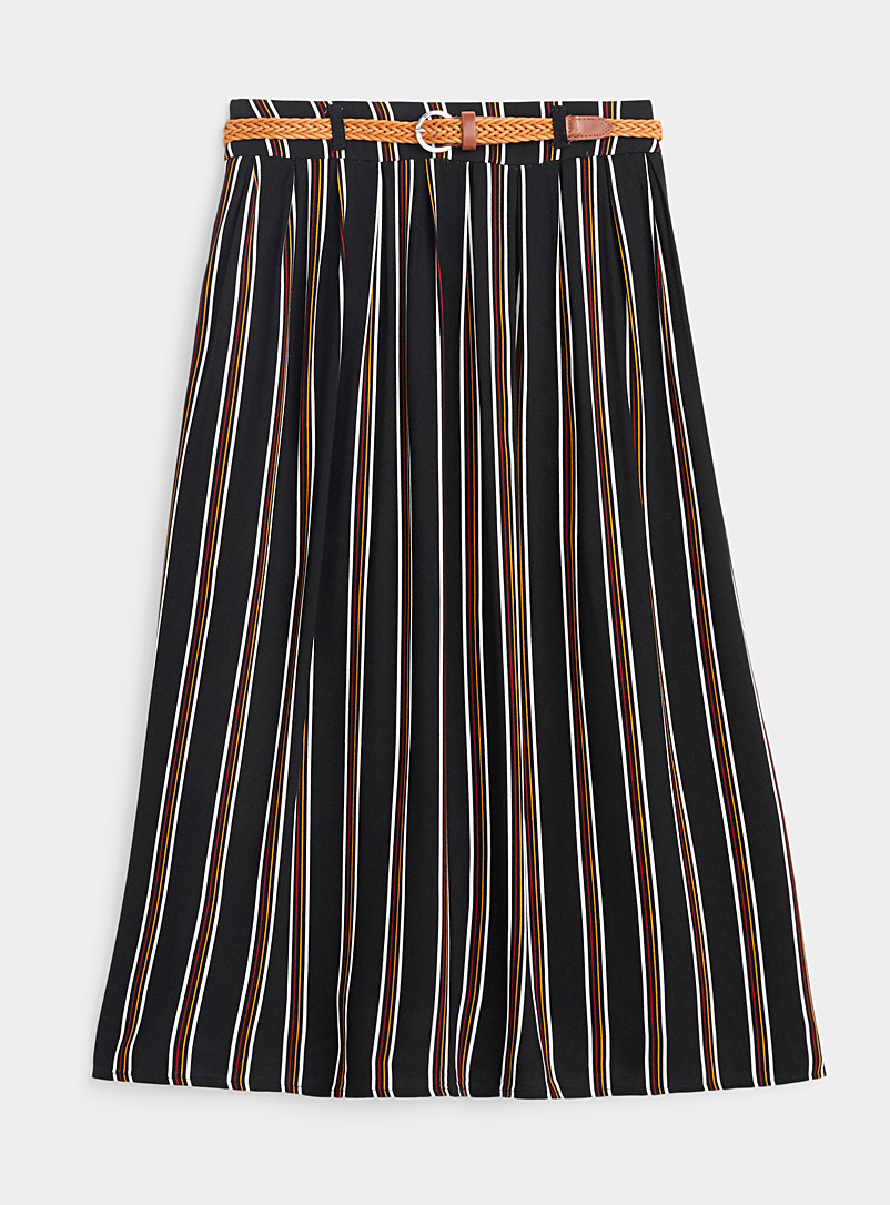 Twik Patterned Black Fluid braided-belt skirt for women