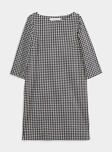 Contemporaine Black and White Patterned mercerized cotton dress for women