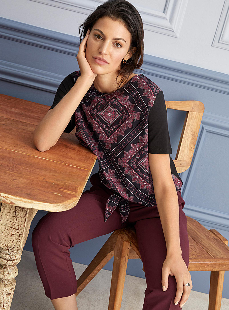 Patterned-front tie T-shirt