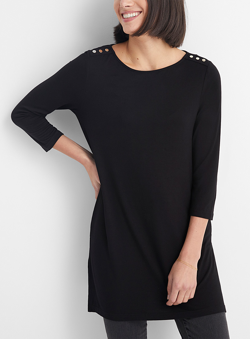 Contemporaine Black Fluid gold-button tunic for women