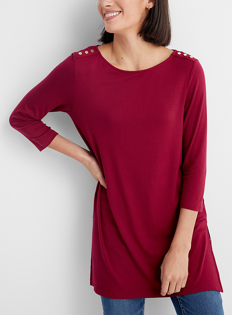 Contemporaine Cherry Red Fluid gold-button tunic for women