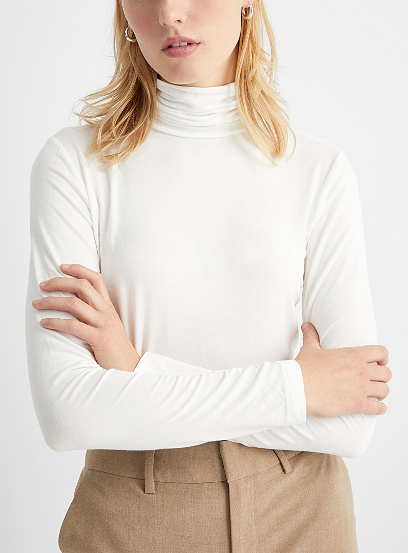 Contemporaine Ivory White Eco-friendly viscose jersey turtleneck for women
