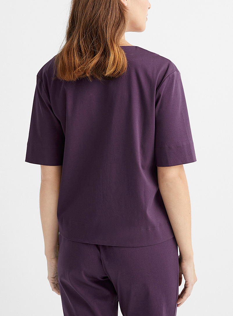 Miiyu x Le Germain Hôtels Dark Crimson Mercerised organic cotton lounge shirt for women