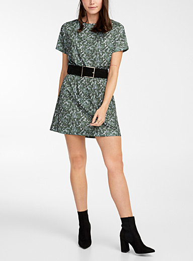 Icône Assorted green Recycled polyester short-sleeve print dress for women
