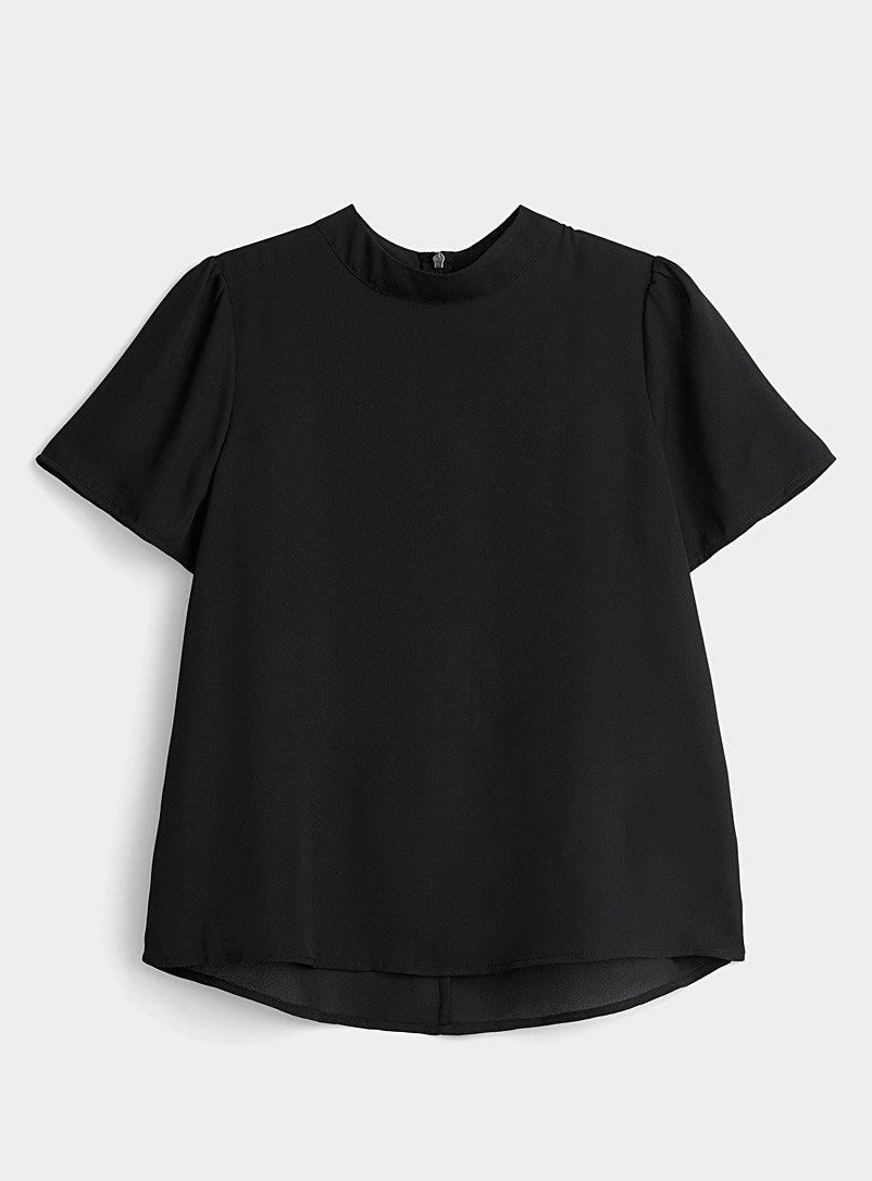 Twik Black Recycled polyester mock-neck blouse for women