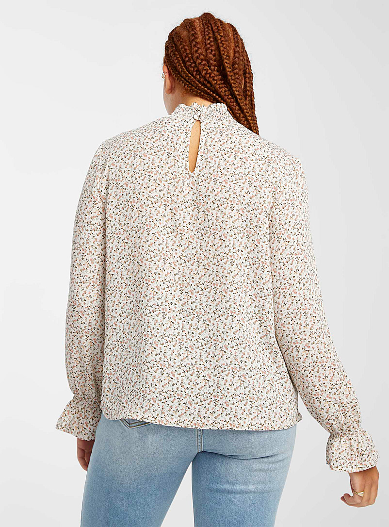 Twik Cream Beige Smocked recycled polyester blouse for women