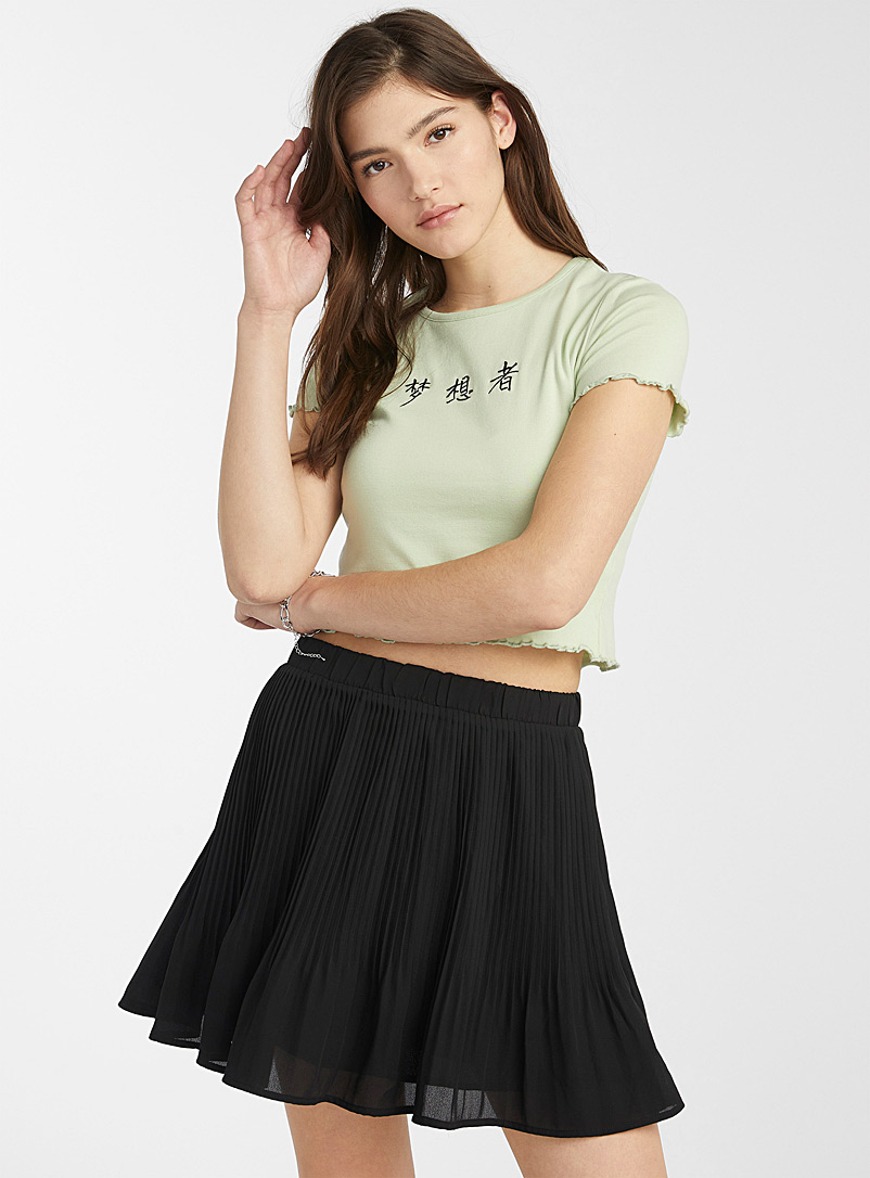 Twik Black Pleated eco-friendly crepe skirt for women