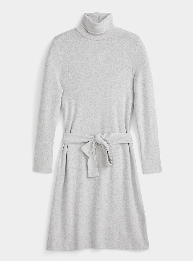 Icône Light Grey Eco-friendly viscose knit turtleneck dress for women