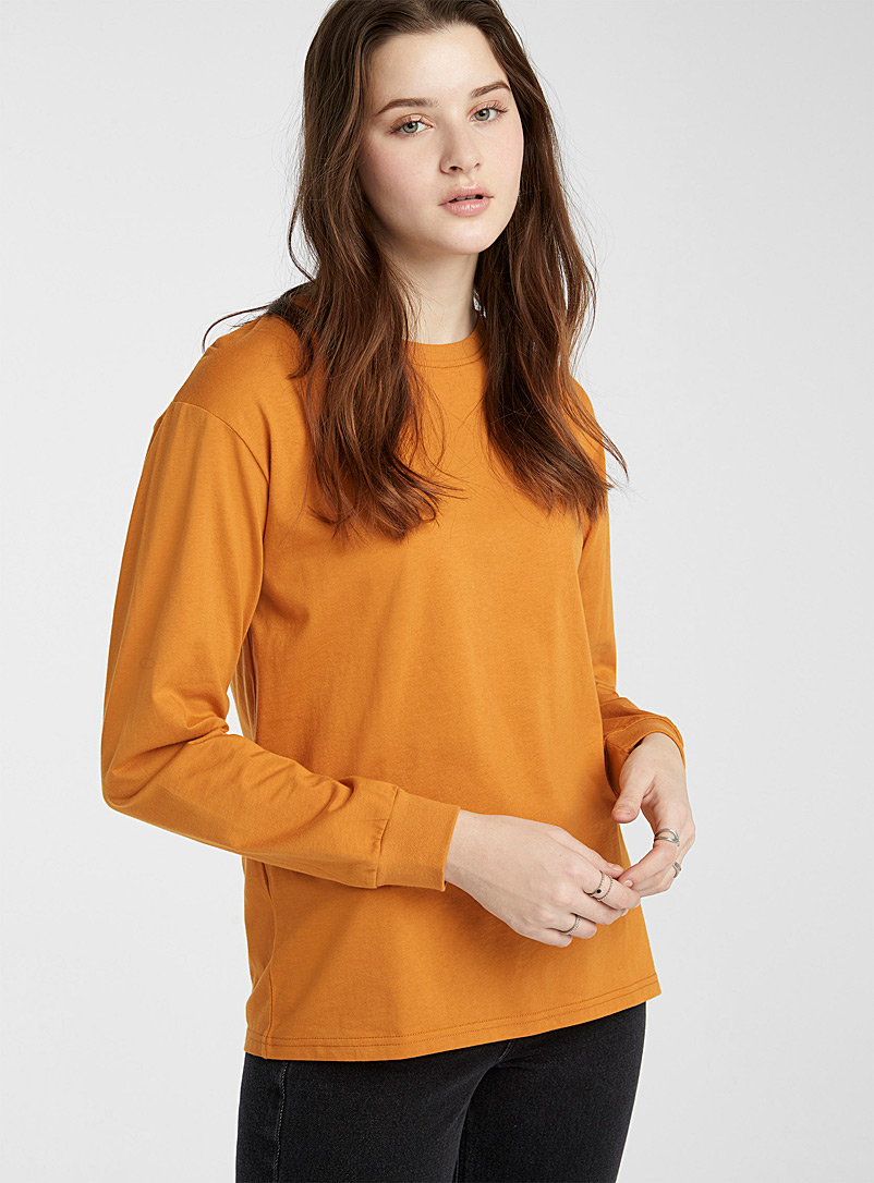 Twik Medium Yellow Organic cotton long-sleeve boyfriend tee for women