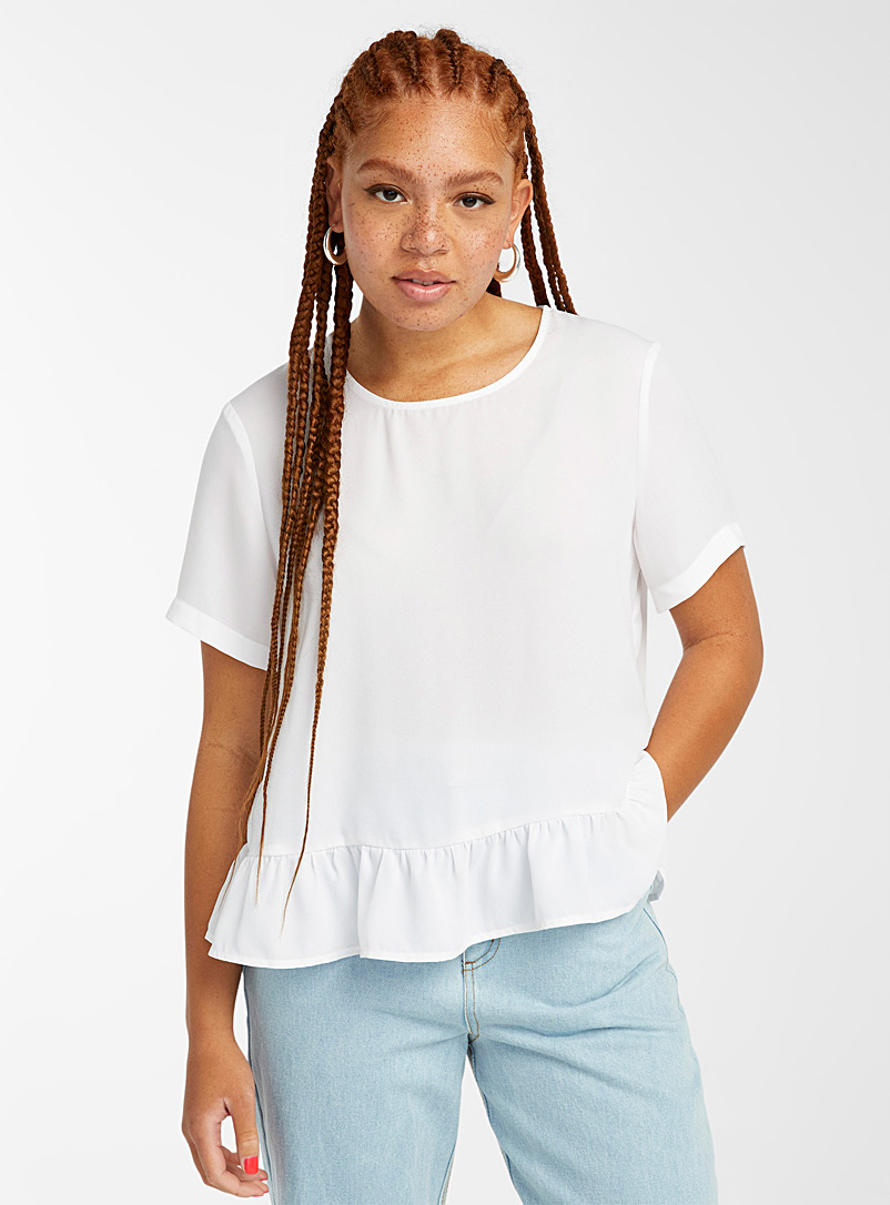 Twik White Recycled fibre ruffle-trim blouse for women