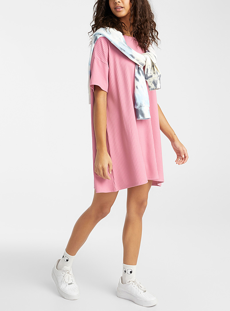 Twik Pink Finely ribbed loose dress for women