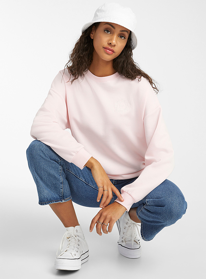 Twik Dusky Pink Accent embroidery sweatshirt for women