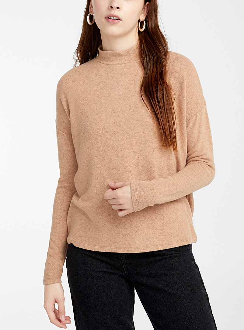 Twik Brown Brushed mock-neck T-shirt for women
