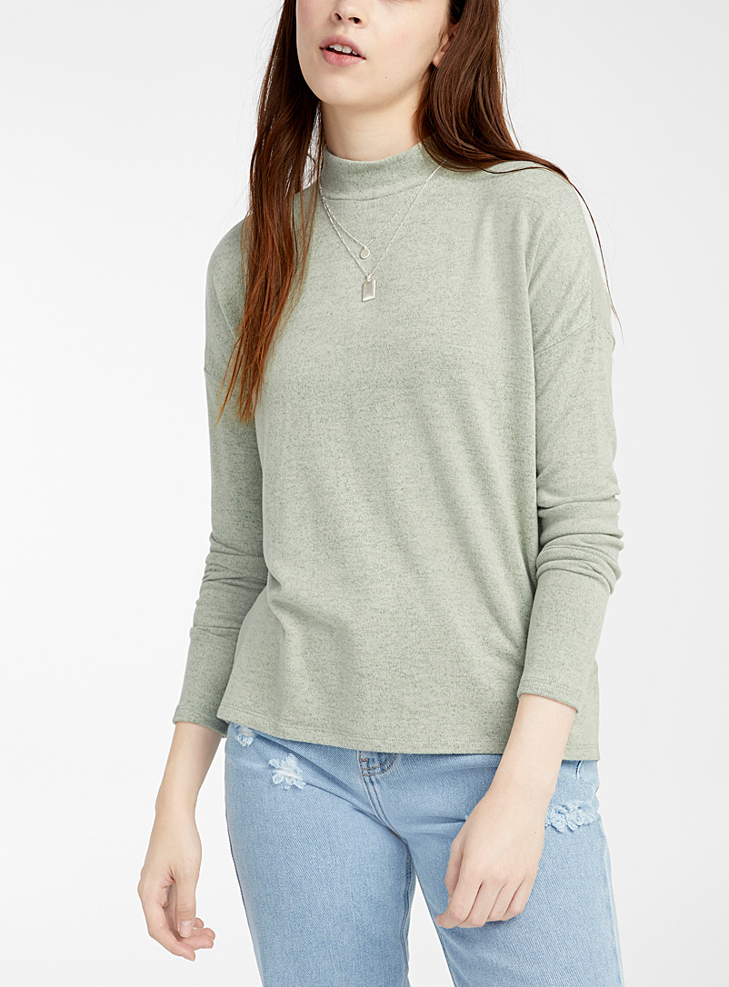 Twik Bottle Green Brushed mock-neck T-shirt for women