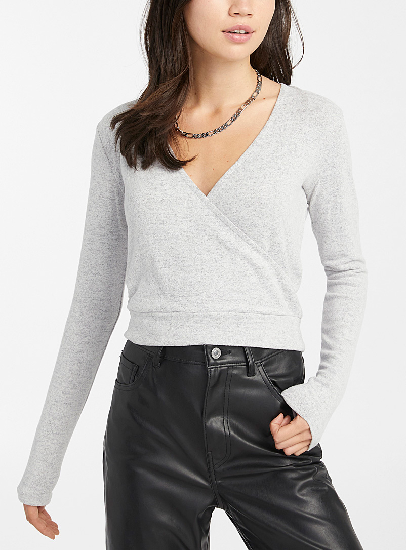 Fine knit crossover top