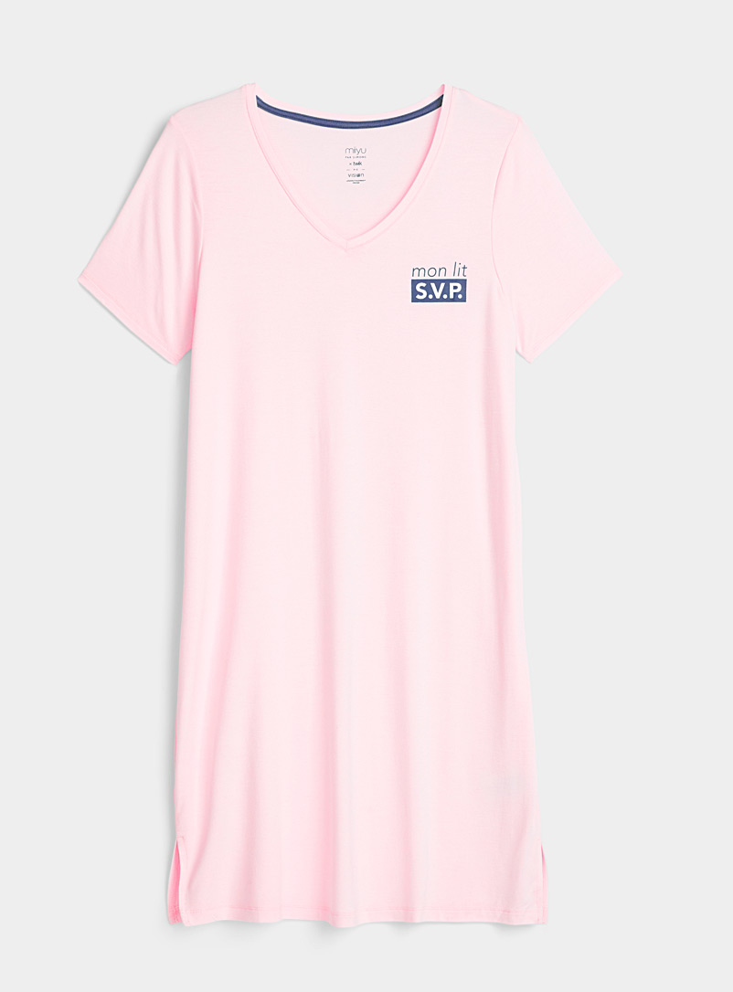 Miiyu x Twik Pink Message V-neck nightgown for women