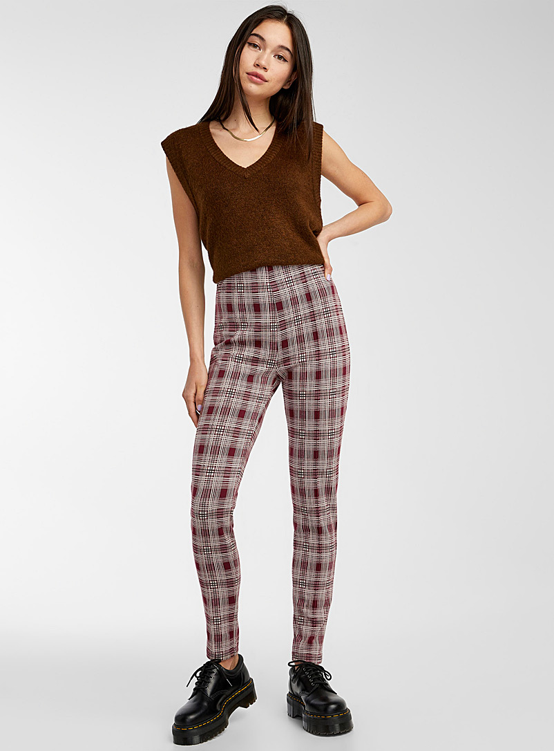 Twik Patterned Red Stretch check legging for women
