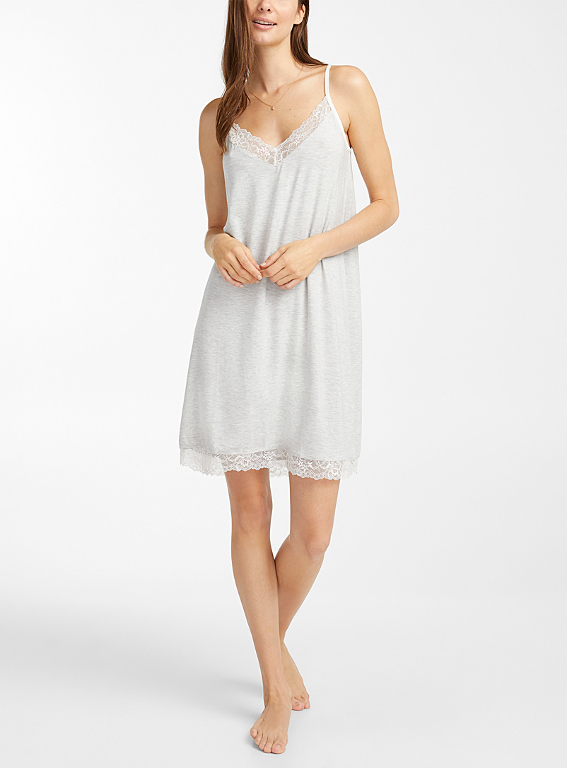 Miiyu Grey Lace-trim modal nightie for women