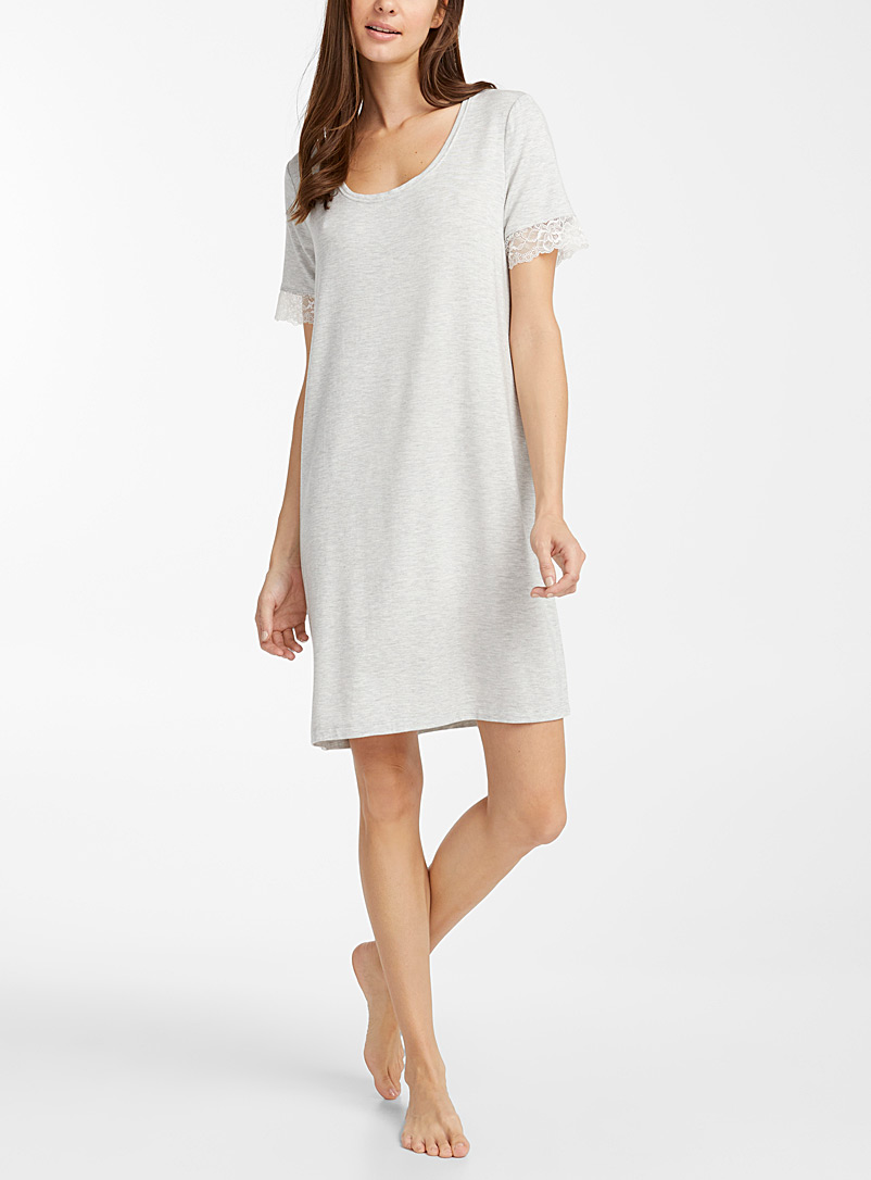 Lace-trim modal nightgown