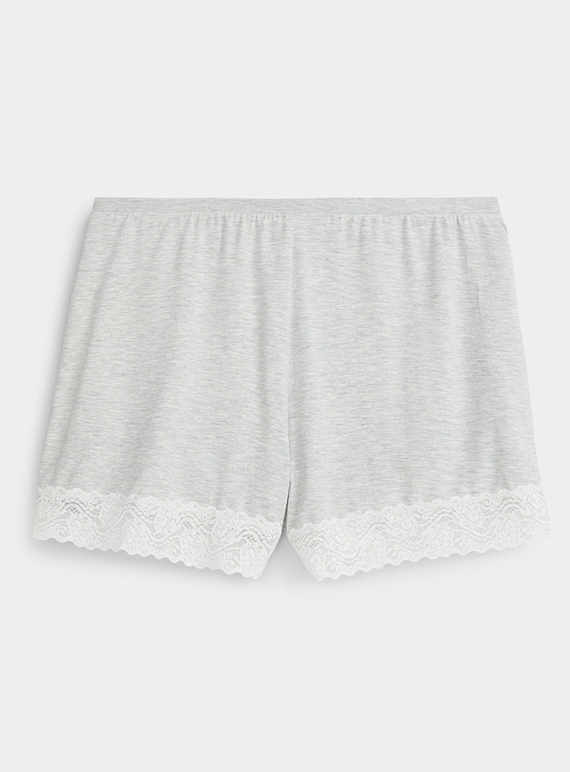 Miiyu Grey Lace-trim modal boxer for women