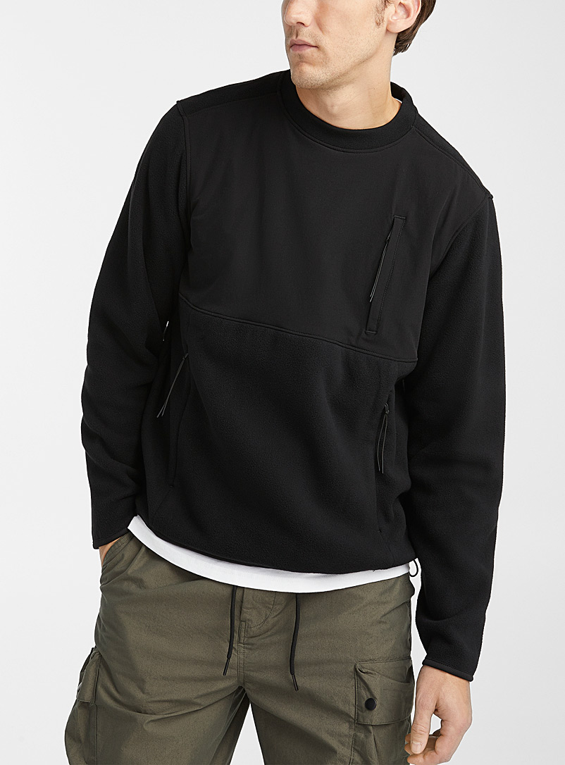 Djab Black Recycled polyester tech sweatshirt for men