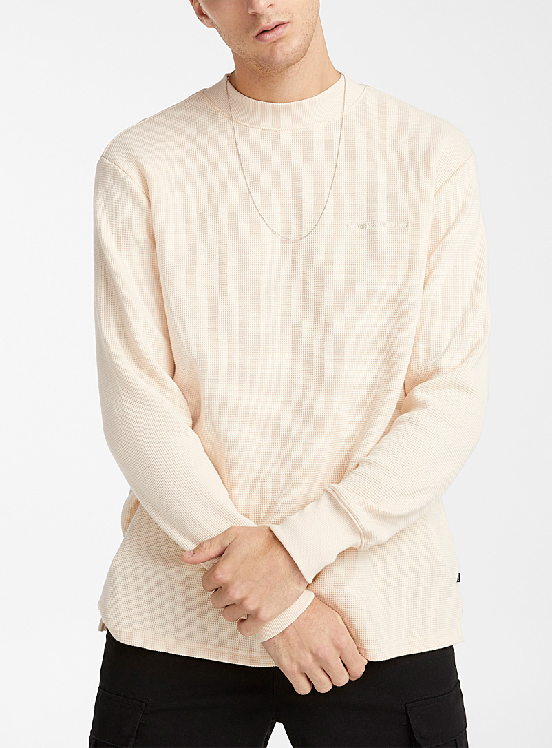 Djab Cream Beige Tone-on-tone logo waffled sweatshirt for men