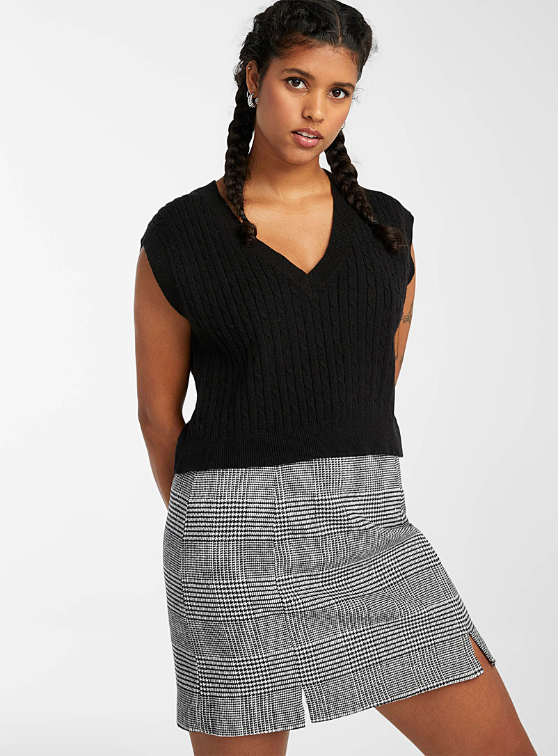 Twik Patterned Black Check flannel miniskirt for women