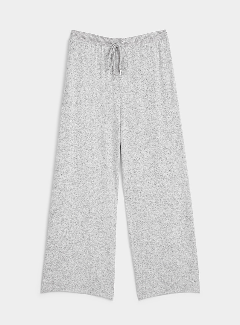 Miiyu Grey Ribbed-trim lounge gaucho pant for women