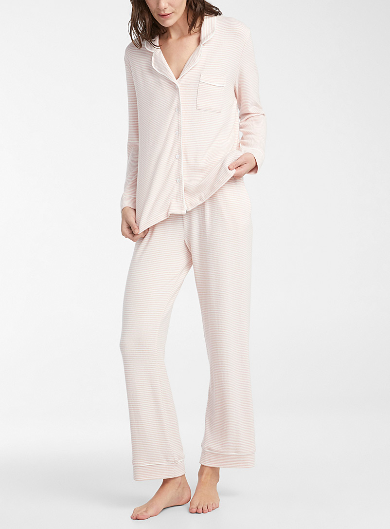 Miiyu Pink Smooth knit trimmed pyjama set for women