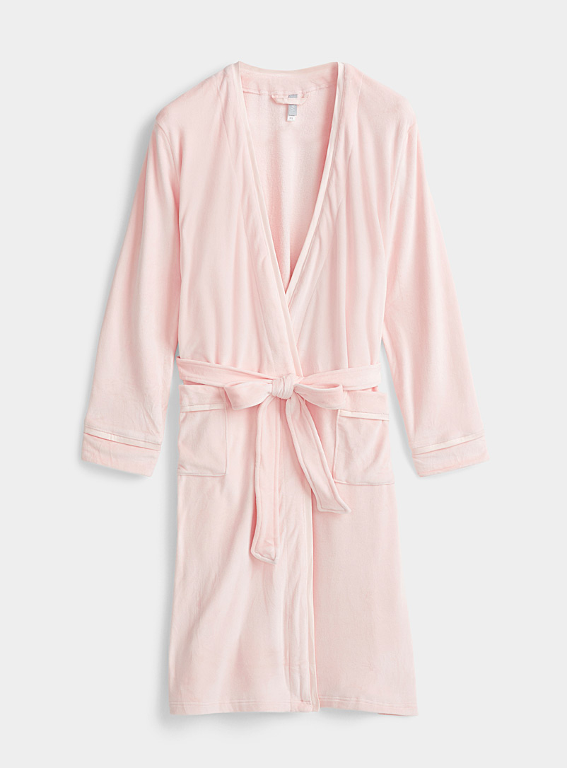 Plush and satin robe