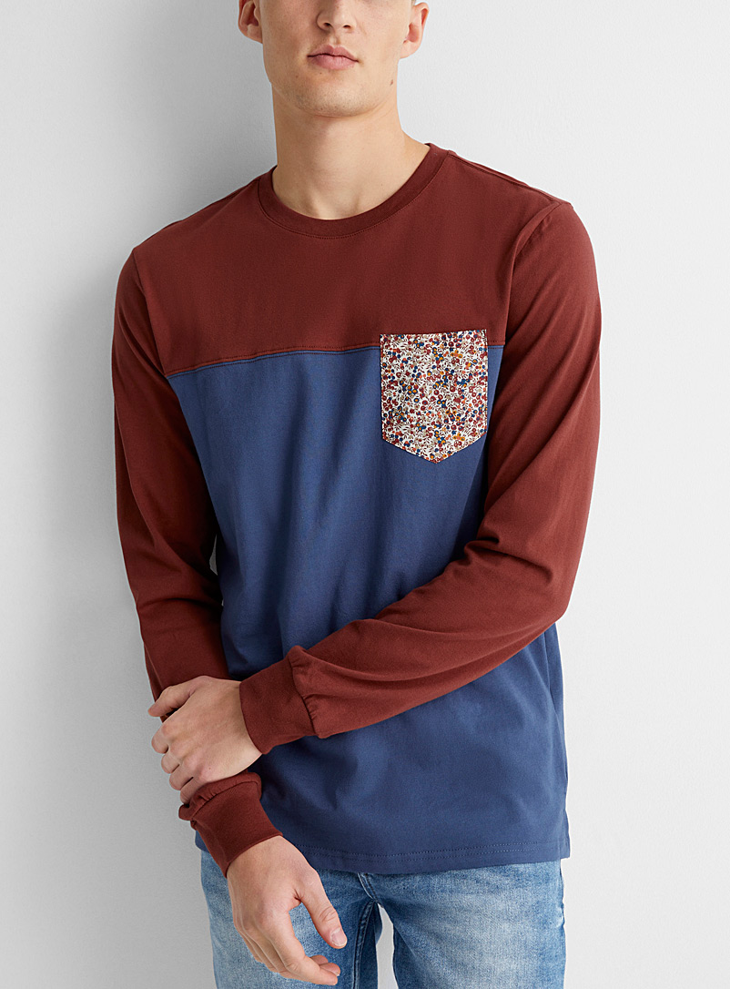 Liberty-pocket colour block T-shirt