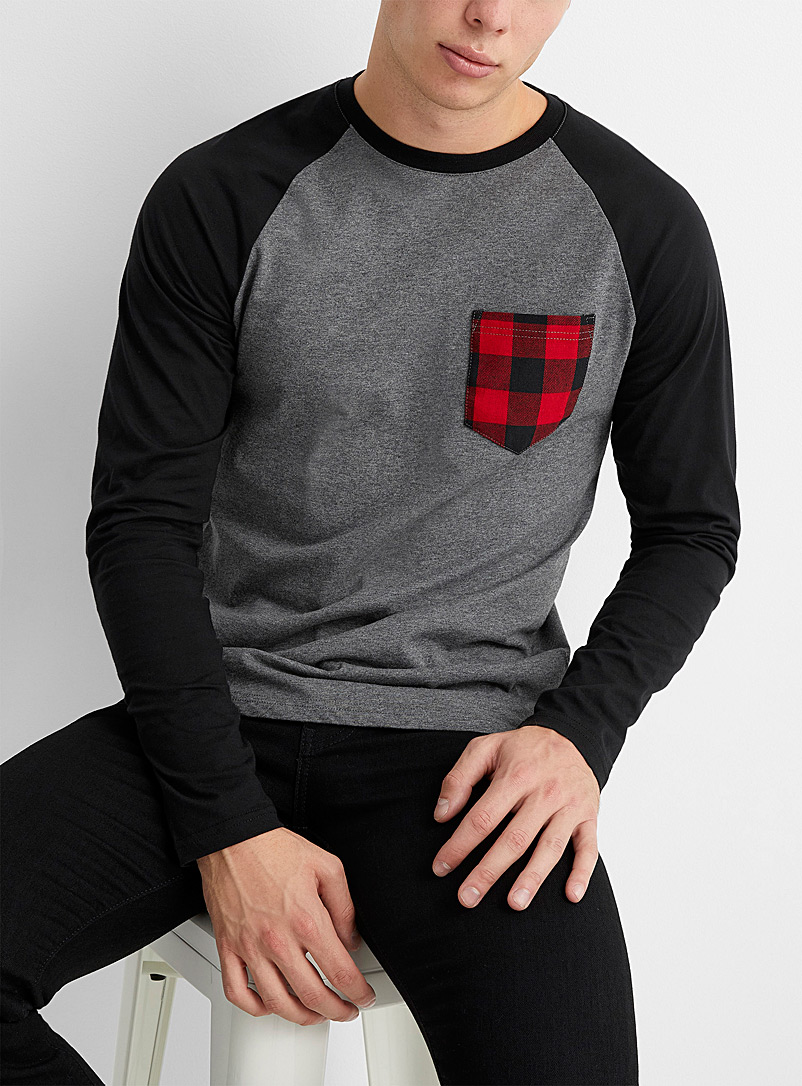 Le 31 Black Buffalo pocket raglan T-shirt for men