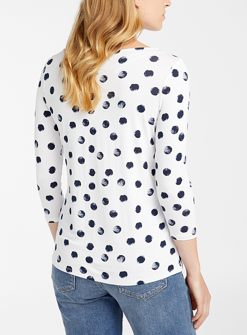 Contemporaine Black and White Stamped polka dot tee for women